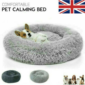 Large Dog Calming Bed XL Round Cozy Anti-Anxiety Fluffy Donut Kennel 40 to 90cm