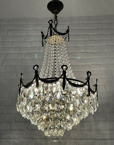 Matching Pair of Antique Vintage Brass & Crystals Empire LARGE Chandeliers Lamps