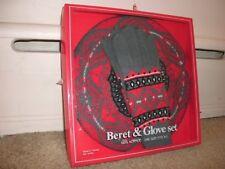 Knitted Acrylic Beret & Glove set geometric gray