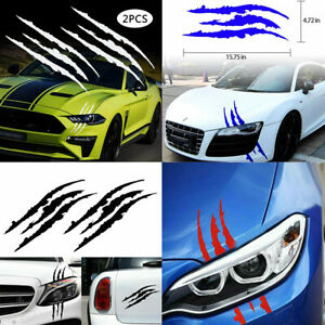 2 Pcs/Set Monster Claw Scratch Decal Reflective Sticker Car Headlight Decor US