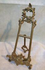 "Ornate Vintage Brass Picture Easel Holder Stand Antique Style 9.5"" Elegant Decor"