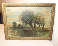 antique original pastoral cow river farm landscape oil painting framed art