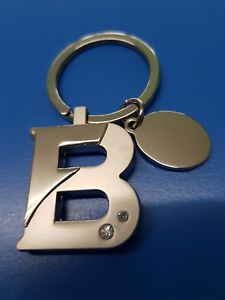 Personalised Initial Letter B Keyring | Engraved Message Tag | Barbara Belinda