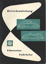 VW KÄFER CABRIOLET LIMOUSINE 1959 Betriebsanleitung Bedienungsanleitung   BA