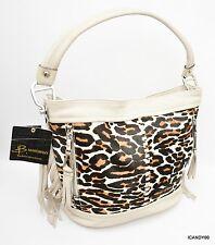 Nwt $318 B Makowsky ANDREA Haircalf & Glove Leather Bucket Hobo w/ Fringe ~Stone