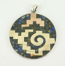 Vintage Taxco Mexico 925 Sterling Mixed Metal Pendant Signed PDM