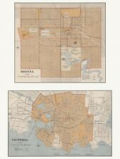 Old Antique Decorative Map of Regina and Victoria Canada Chalifour ca. 1915