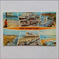 West Sussex Coast 6 Views 1977 Postcard (P361)