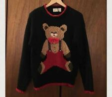 Far & Near Vintage Teddy Bear Oversize Ugly Christmas Sweater, Sz M Black/Red