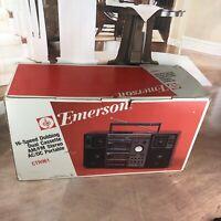 Emerson CTR-961 Boombox AM/FM Cassette Stereo Ghetto Blaster 1980s- 90s Vintage