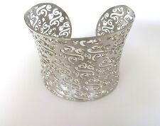 Open Cuff Bracelet 7.5 Inch Women's Stainless Steel Cut Swirl Design