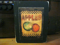 Checkerboard Apples Country Primitive Rustic Wooden Block Shelf Sitter 3.5X4.5