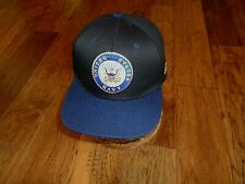 U.S Navy Emblem Hat 3D Embroidered On Front Flat Bill Cap Wool Blend