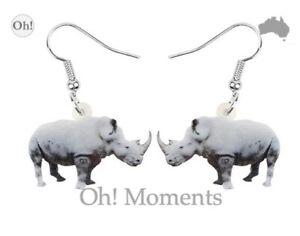 Melbourne Seller! ~ Fabulous White Rhinoceros Africa Boho Earrings ~ FREE POST!