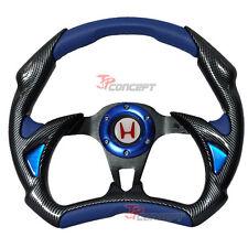320mm Racing Sport Steering Wheel Black Carbon Blue PVC White H Horn Button