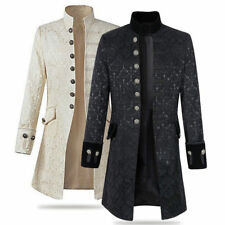 Men's Stand Collar Jacket Gothic Coat Steampunk Outwear Top Parka