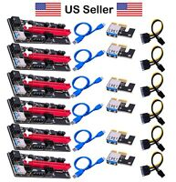 60cm VER009 PCI-E Riser Card PCIe 1x to 16x USB 3.0 Data Cable Bitcoin Mining US
