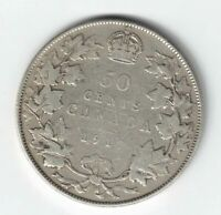 CANADA 1917 50 CENTS HALF DOLLAR KING GEORGE V CANADIAN STERLING SILVER COIN