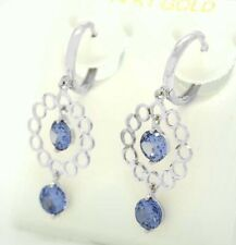 TANZANITE 2.04 Cts CHANDELIER EARRINGS 14K WHITE GOLD ** Made in USA