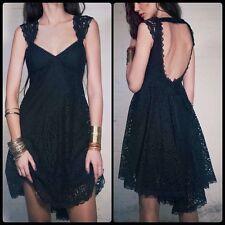 Free People Creme De La Lace Empire Waist High Low Dress Black NWT Small 4 $300
