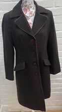 BHS Winter Coat Size 14 Brown Long Trench Wool Blend Jacket Formal Business