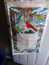 Collectable Vintage 1972 Burlap Bird Calendar 28 x 16 on Wooden Hanger