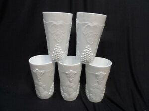9 Indiana Harvest Grape Pattern Milk Glass Tumblers Ice Tea