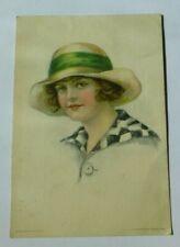 N287 GIRL IN HAT Painted By ELSIE CATHERINE FIDLER Postcard 1915