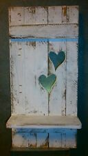 Regal 2 Herzen Shabby chic  Unikat  Palettenholz weiß für Haus und Garten