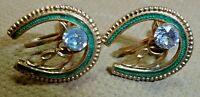 CUTE Vintage 1960's Green Enamel Gold Tone Clear Rhinestone Screw Back Earrings
