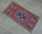 """Vintage Distressed Small Area Rug Hand Knotted Oushak Rugs Yastik -1'7""""x3'2"""""""