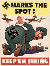 """WW2 1940's """"Marks The Spot"""" WWII Hitler Poster - 20x28"""