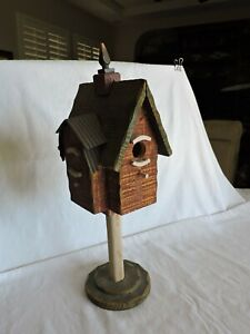 Home Interiors & Gifts Wood Red and Green Birdhouse Decoration