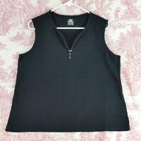 Womens Jones Sport Sleeveless Tank Top Size XXL  Black 3 Snap V-Neck