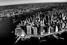 PHOTO CITYSCAPE NEW YORK LOWER MANHATTAN AERIAL BW LARGE ART PRINT POSTER LF2671