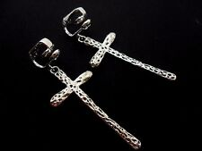 A PAIR OF LOVELY TIBETAN SILVER  CROSS CRUCIFIX CLIP ON EARRINGS. NEW.