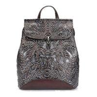Women Embossed Backpack Real Genuine Leather Daypack School Rucksack Travel Bag