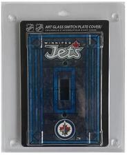 "(HCW) Winnipeg Jets 5""x3.5"" Art Glass Switch Plate Cover With Screws"