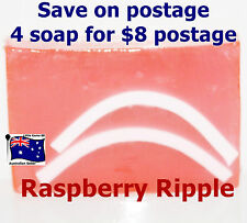 HANDMADE NATURAL TRANSPARENT SOAP * Raspberry Ripple *100 Grams 4 for $8 Postage