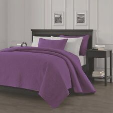 Pinsonic Quilted Austin Oversize Bedspread Coverlet  3-piece King Set, Purple