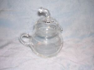 Glass Creamer with Lid, and Etched Glass