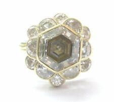 18Kt Fancy Brown Octagon Half Moons & Round Cut Diamond Yellow Gold Ring 5.03Ct