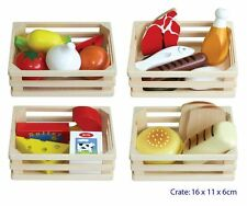 WOODEN PRETEND PLAY 4 FOOD GROUP MEAT BREAD VEGGIES DAIRY KITCHEN COOKING TOY