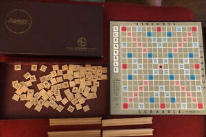 Vintage 1953 Selchow Righter Scrabble Crossword Game Complete Wood Tile 817