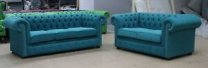 CHESTERFIELD TUFTED BUTTONED 3+2 SEATER SOFA SUITE EASY CLEAN TEAL BLUE FABRIC