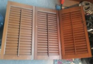 Vintage Wooden Shutters approx. 33 1/2 x 23 H x 1 inch thick tri fold