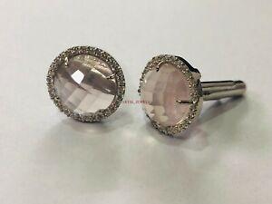 Natural Rose Quartz Gemstone with 925 Sterling Silver Cufflink #2650