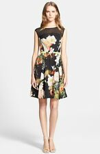 TED BAKER size 3 - FLORA Prints Cap Sleeve Black Dress size 10 M $428 NEW