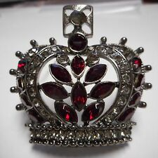 BEAUTIFUL OLD CRYSTAL((((( CROWN))))) PIN / BROOCH HEMITITE PLATE FANTASTIC