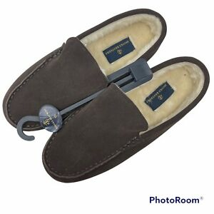 Brooks Brothers Men's Size 10M Brown Suede Leather Lined House Slippers NWT
